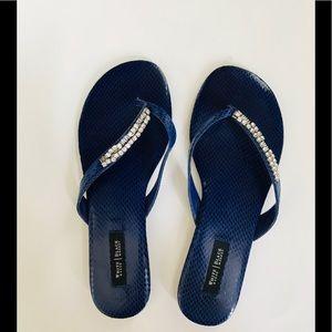 WHBM Blue with Rhinestones Flip Flops Sandals